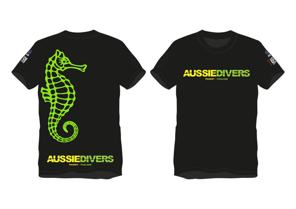 Aussie Divers T-Shirts – Black/Green/Yellow- Only THB 390