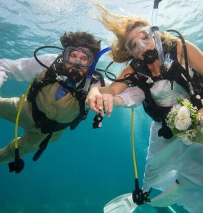 Happy Wedding Couple Aussie Divers Phuket