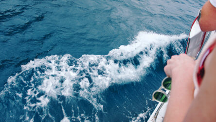 Waves on a boat Aussie Divers Phuket